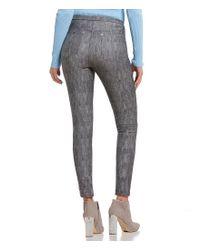 MICHAEL Michael Kors Gray Classic Washed Ash Grey Denim Print Stretch Twill Knit Leggings