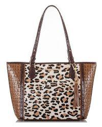 Brahmin - Brown Capella Collection Medium Asher Leopard-print Haircalf Tasseled Tote - Lyst