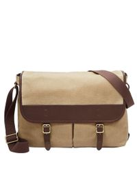 Fossil - Brown Buckner Canvas Messenger Bag for Men - Lyst