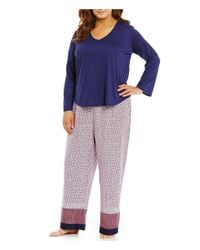 Oscar de la Renta - Blue Pink Label Plus Border-print Pajamas - Lyst