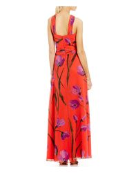 David Meister | Red Floral Chiffon Cross-neck Halter Gown | Lyst