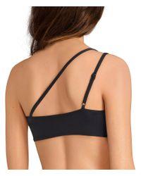 Michael Kors Black Logo Tape One-shoulder Bikini Top
