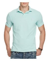 Polo Ralph Lauren - Blue Custom Slim-fit Solid Weathered Mesh Short-sleeve Polo Shirt for Men - Lyst