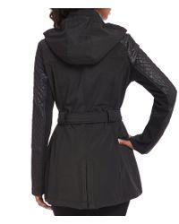 MICHAEL Michael Kors - Black Soft Shell Center Zip Coat - Lyst