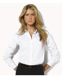 "Lauren by Ralph Lauren - White Petite ""aaron"" Wrinkle-free Shirt - Lyst"