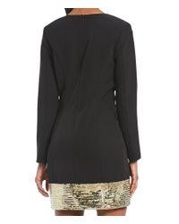 Laundry by Shelli Segal - Black Sequin Hem Mini Tuxedo Dress - Lyst