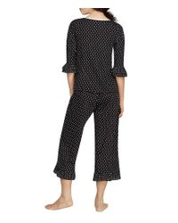 Kate Spade Black Polka Dot-printed Cropped Pajamas