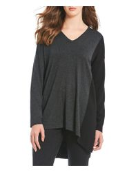 Eileen Fisher - Black Color Block V-neck Long Sleeve Hi-low Tunic Top - Lyst