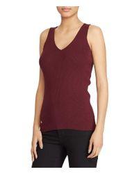Lauren by Ralph Lauren | Red V-neck Sleeveless Sweater | Lyst