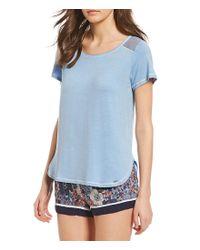 Kensie - Blue Solid Jersey Knit Sleep Tee - Lyst