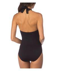 Lauren by Ralph Lauren - Black Beach Club Solids Knotted Halter One-piece - Lyst