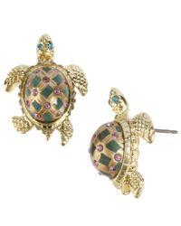 Betsey Johnson Green Turtle Stud Earrings