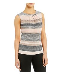 Calvin Klein - Gray Ombre Geometric Stripe Print Matte Jersey Pleat Neck Shell - Lyst