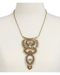 Lucky Brand - Metallic Quartz Rock Crystal Sunburst Statement Necklace - Lyst