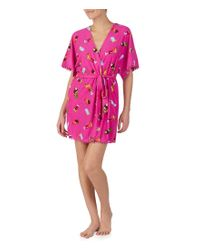 Betsey Johnson Pink Drink Print Pom Pom Trim Vintage Terry Short Wrap Robe