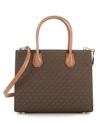 MICHAEL Michael Kors | Brown Studio Mercer Studded Convertible Tote | Lyst