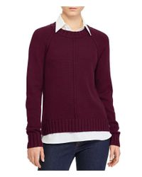 Lauren by Ralph Lauren | Petite Layered Cotton-blend Sweater | Lyst