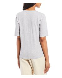 Eileen Fisher Multicolor Round Neck Elbow Sleeve Top