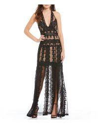 Nicole Miller Artelier - Black Lace Plunge V-neck Gown - Lyst
