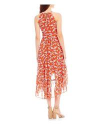 Eliza J Red Floral Print Halter Midi Dress