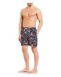 "Tommy Bahama - Black Naples Subtropical Palm 6"" Swim Trunks for Men - Lyst"
