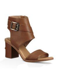 Ugg - Brown Claudette Buckle Detail Side Zip Block Heel Sandals - Lyst