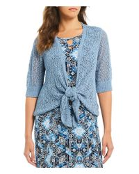 Ruby Rd Blue Petite Size Elbow Sleeve Pointelle Sweater Cardigan