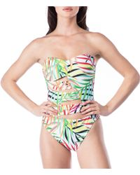 Kenneth Cole - Green Exotic Palm Bandeau Cut-out One-piece Swimsuit - Lyst