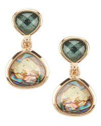 Anne Klein Metallic Abalone Clip Earrings