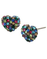 Betsey Johnson - Blue Pavé Heart Stud Earrings - Lyst
