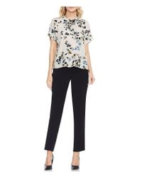 Vince Camuto - Black Short Sleeve Roll Mock Neck Blouse - Lyst