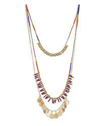 Panacea Metallic Multi Strand Seed Bead Necklace