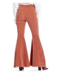 Free People - Red Just Float On Cord Frayed Flare Leg Pant - Lyst