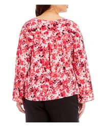 CALVIN KLEIN 205W39NYC - Red Plus Long Roll-tab Sleeve Floral Print Blouse - Lyst
