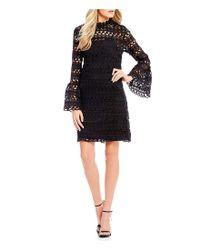 Sugarlips Black Bell Sleeve Lace Shift Dress