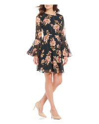f89506228ca9e Donna Morgan. Women's Black Floral Print Bell Sleeve Lurex Chiffon Dress