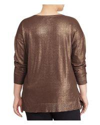 Lauren by Ralph Lauren | Brown Plus Metallic Cotton-blend Sweater | Lyst