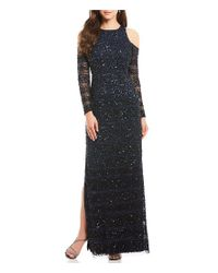 Aidan Mattox - Multicolor Sequin Cold Shoulder Gown - Lyst