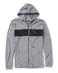 RVCA - Gray Line Up Full-zip Lightweight Hoodie for Men - Lyst