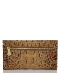 Brahmin Brown Toasted Almond Collection Croco-embossed Checkbook Wallet