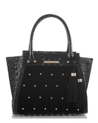 Brahmin - Black Faroe Collection Mini Priscilla Satchel - Lyst