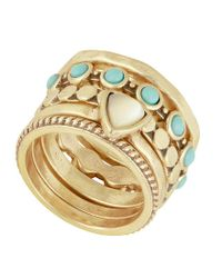 Lucky Brand - Metallic Turquoise Stacked Ring - Lyst