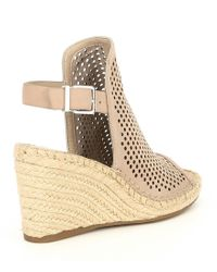 Gianni Bini Natural Bryndell Perforated Leather Espadrille Wedges