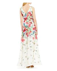 David Meister - White V-neck Printed Chiffon Floral Sheath Gown - Lyst