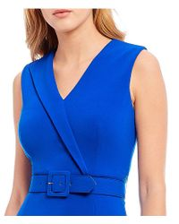 CALVIN KLEIN 205W39NYC - Blue Belted Midi Dress - Lyst
