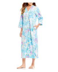 Miss Elaine - Blue Floral-print Sateen Zip-front Long Robe - Lyst