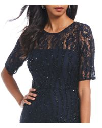Adrianna Papell Blue Long Beaded Dress