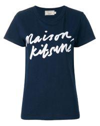 T-Shirt Logo Firma di Maison Kitsuné in Blue