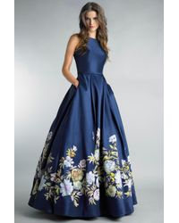 Basix Black Label Blue Hand Painted Floral Ball Gown