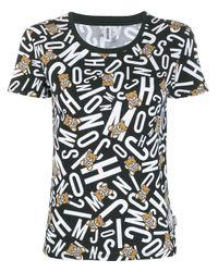 T-shirt con stampa logo di Moschino in Black